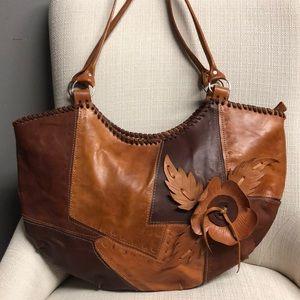 Vintage Patchwork Raw Leather Flower Hobo LG